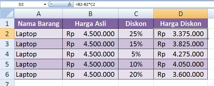 1.   Cara Menghitung Harga Barang Setelah Diskon dengan Excel