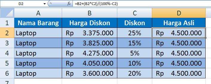 2.   Cara Menghitung Harga Asli dari Barang yang Telah Didiskon dengan Excel