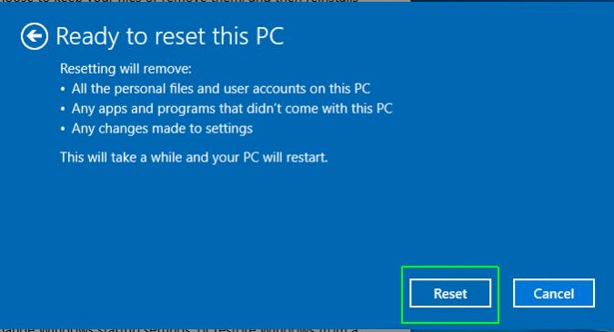 8. Reset Laptop