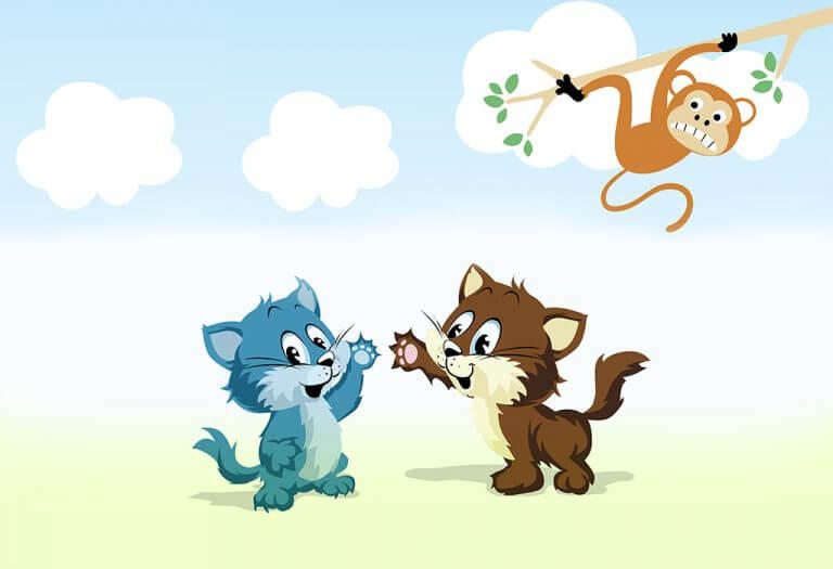 10. Dua Kucing dan Seekor Monyet