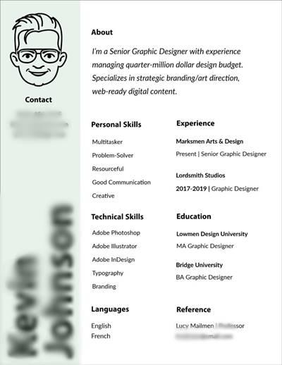 5. CV dengan Font Unik
